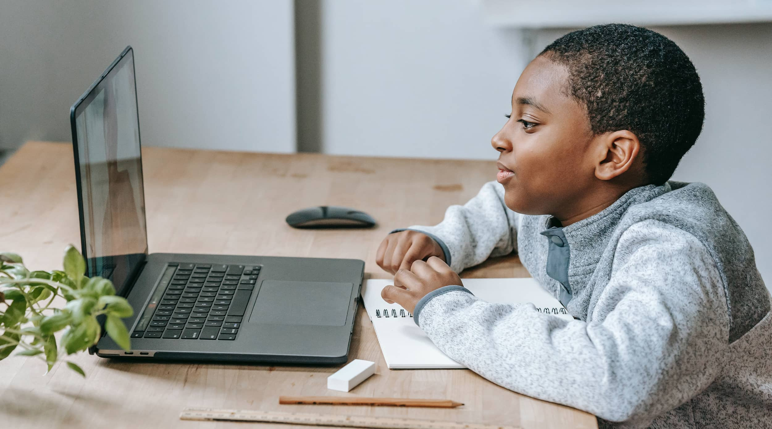 A student watches a Rachel's Challenge kindness rally on a computer